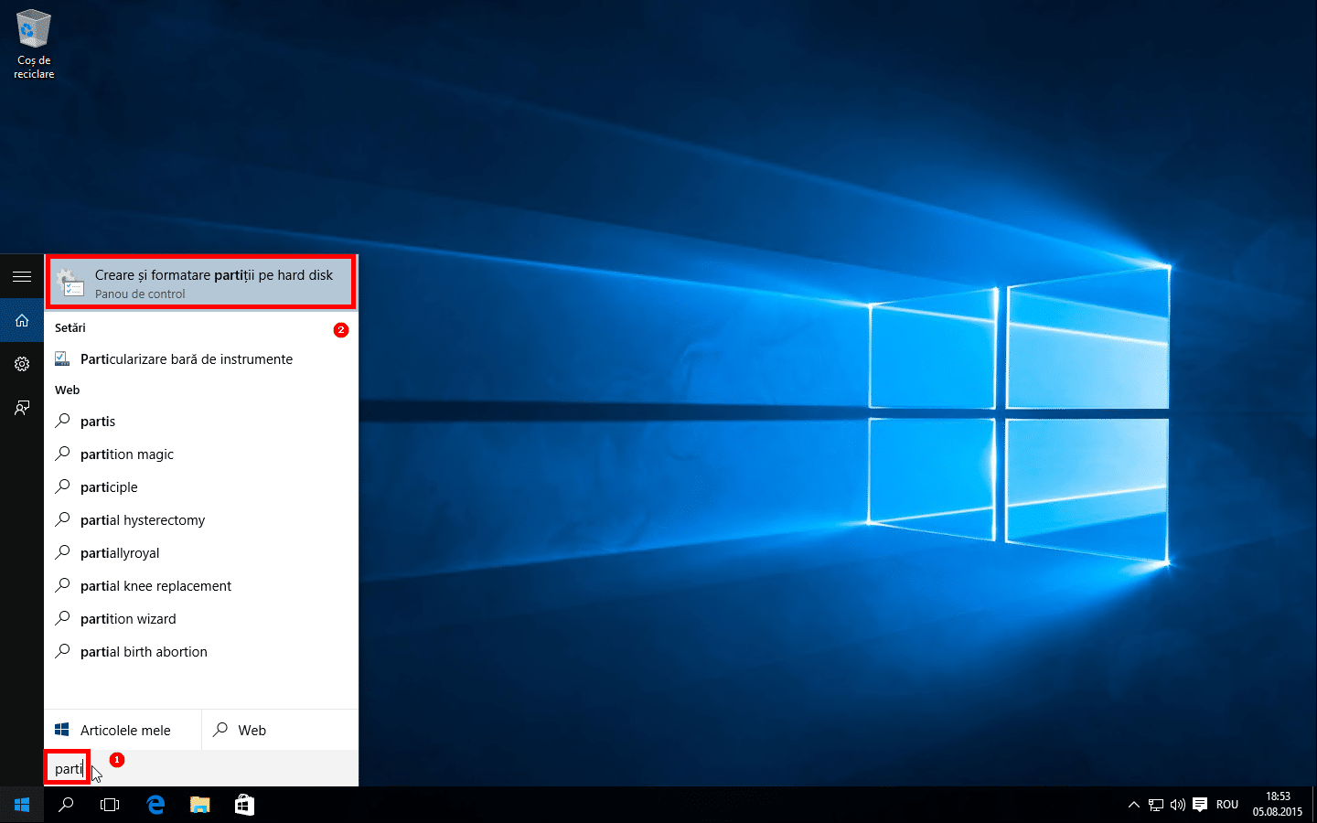 01 Partitie noua in Windows 10