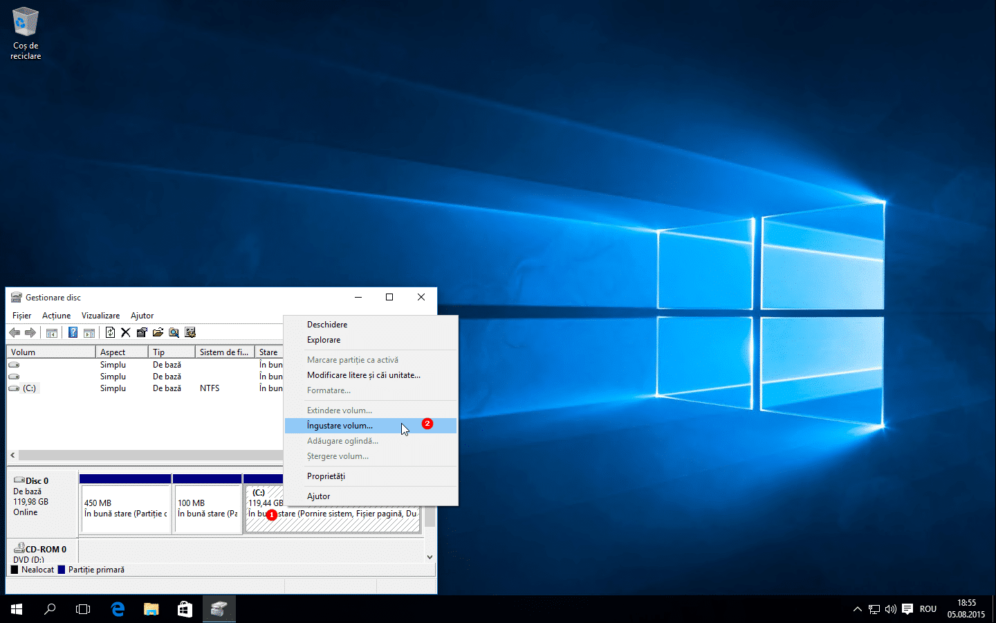 Partitie noua in Windows 10